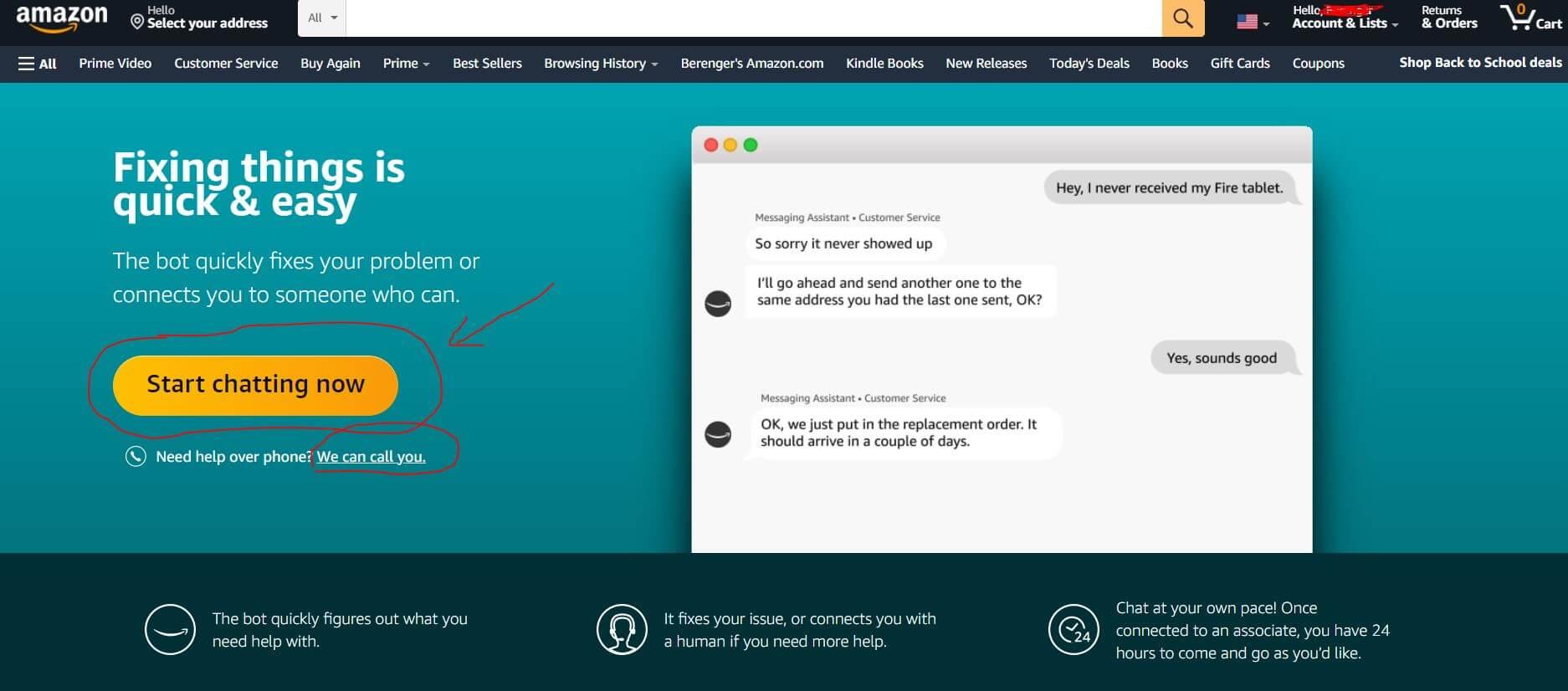 Amazon customer service page