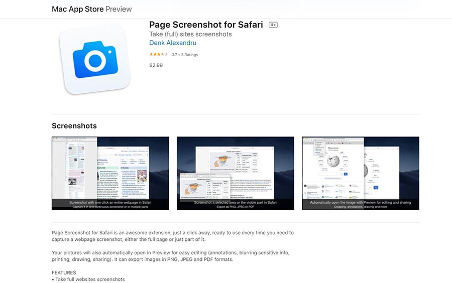 Page Screenshot safari - app for screenshot on Safari
