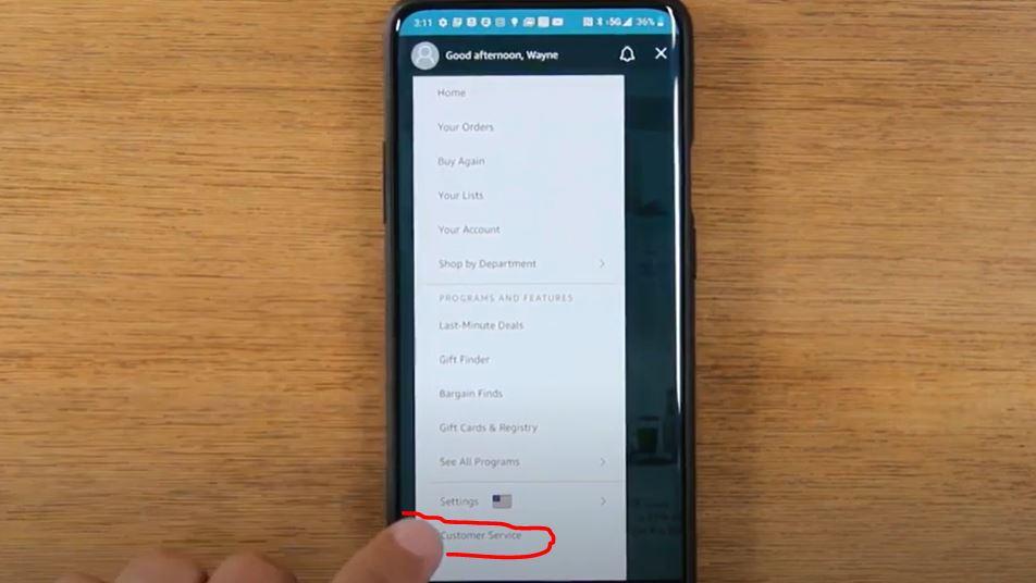 contact amazon on app phone