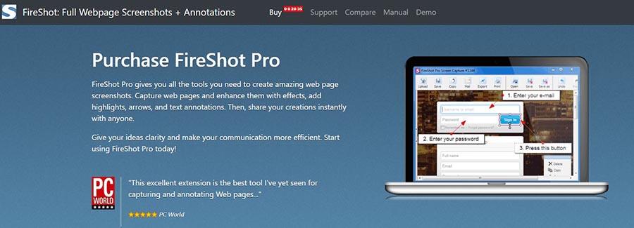 fireshot extension- app for screenshot on windows