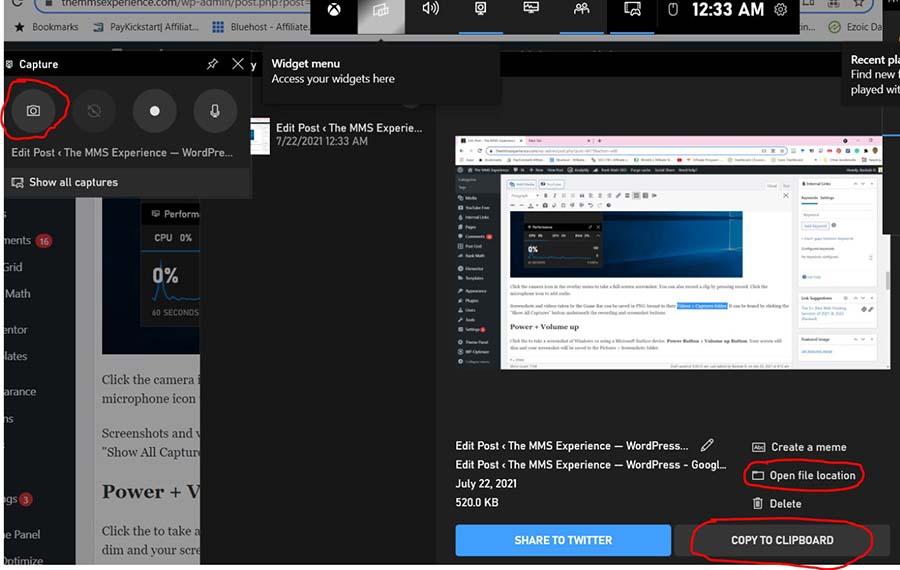 game bar screenshot windows