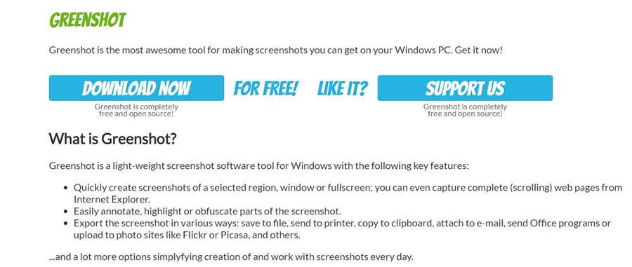 greenshot app for screenshot on windows