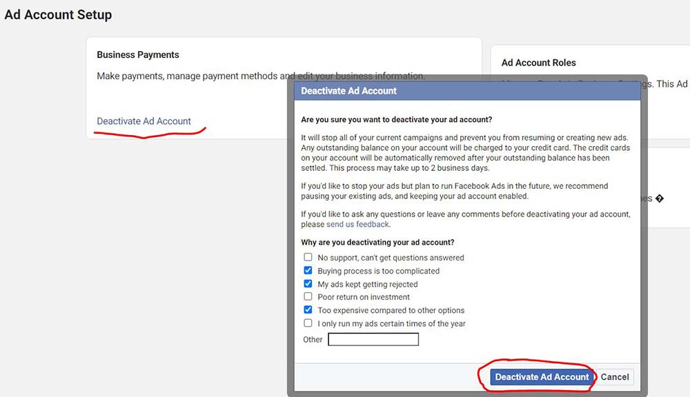 how to deactivate a facebook ad account - give the reason