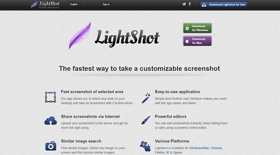 lightshot app for screenshot on windows