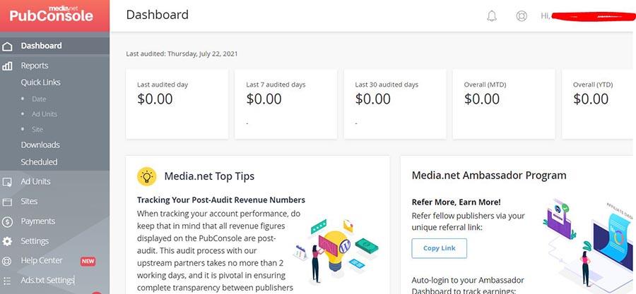 media.net dashboard page- best adsense alternative