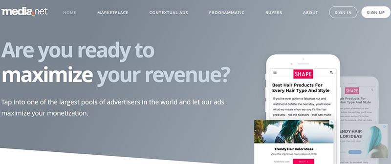 media.net sign up page- adsense alternative