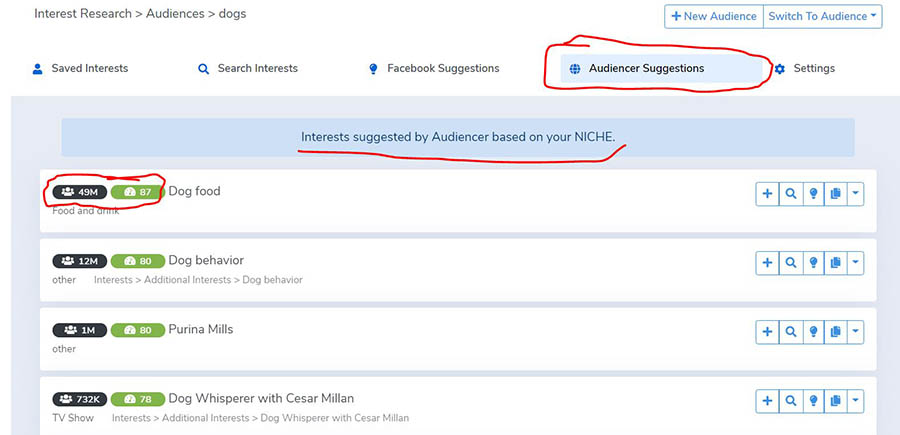 audiencer dashboard hidden interests - audiencer suggestions- dogs